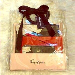 NWT Foley + Corinna 3 Piece Cosmetic Bags Gift Set